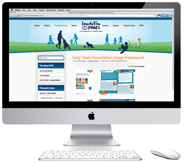 Image of the EYFS website