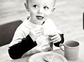 Boy eating snacks