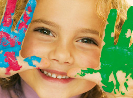 Image of girl with paint on hands