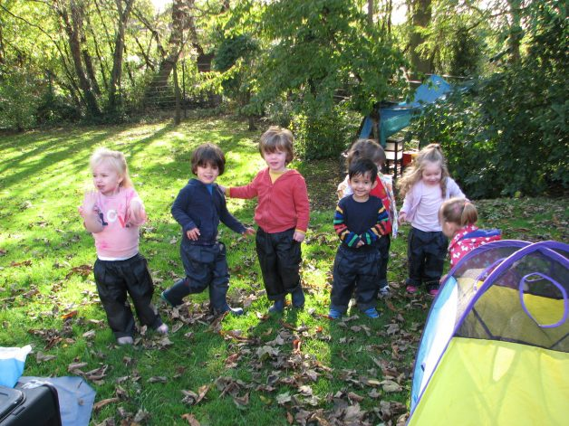 Image of Pre-School children playing outside